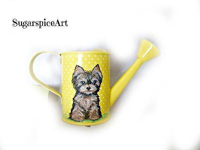 Yorkie Hand Painted Watering Can Home Decor Dog Art by SugarspiceArt