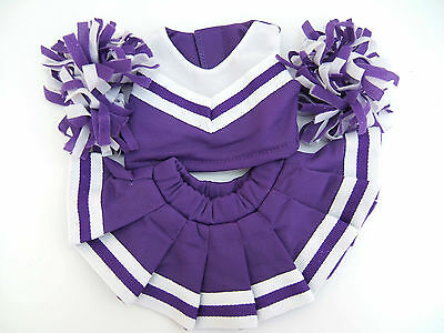 """Purple Cheerleader Outfit With Pompoms & Knickers Fits 8 To 10"""" (20Cm)  Bears"""