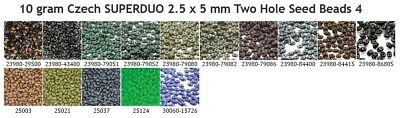 10 gram or 24 gram Czech SUPERDUO 2.5 x 5 mm Two Hole Seed Beads 4