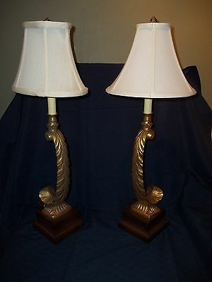 Unique Pair Hollywood Regency Style Table Lamps Elegant Feather Design