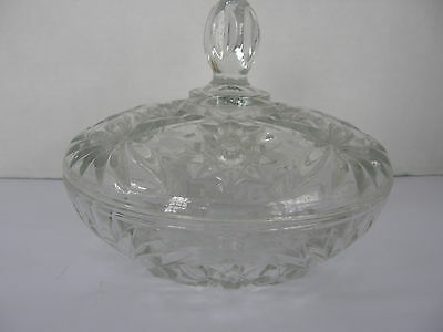 Vintage Clear  Lead Crystal With Cover Candy Dish Floral Pattern