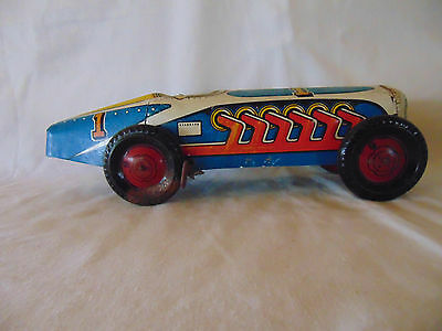 Marx Tin litho windup toy racer; Indy racecar with no driver