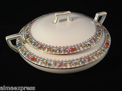 Homer Laughlin China HLC4100 Floral Lattice Gold COVERED SERVING  CASSEROLE