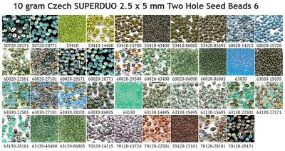 10 gram or 24 gram Czech SUPERDUO 2.5 x 5 mm Two Hole Seed Beads 6