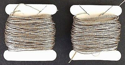 French Antique 1930s SILVER PLATED 4-Ply Twist Metal THREAD. 20 yds. Embroidery