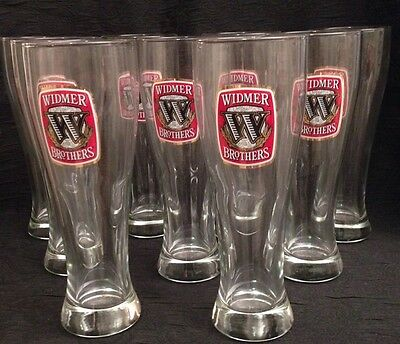 """Set Of 9 Giant Beer Mugs 9"""" Tall Widmer Bros. Beer Company Tall Beer Glasses"""