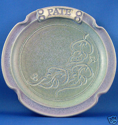 SIGNED Handcrafted 16cm BLUE ART POTTERY Unique PATE PLATE VG Collectable Aust