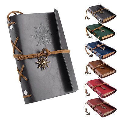 Unique Leather Cover Anchor Rudder Charm NoteBook Travel Sketchbook Blank Diary