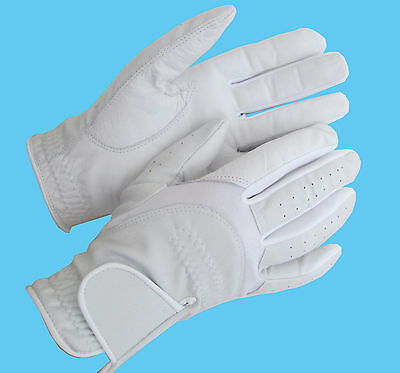 Ladies White Leather Competition Dressage Gloves Horse Riding Small Medium Large