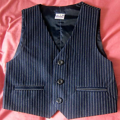 Boys BLUE PIN STRIPE Formal Vest Size 0-12 fit Wedding Tuxedo