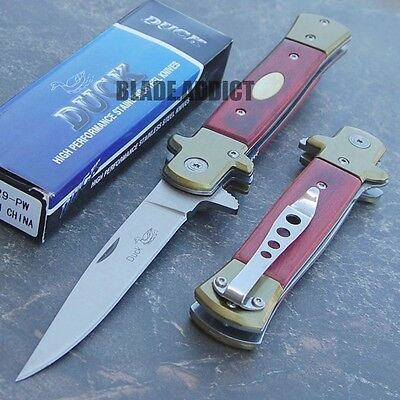 """9"""" Classic German Wood Stiletto Tactical Spring Assisted Folding Pocket Knife M"""