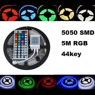 Waterproof 5M 16.4ft 5050 SMD 300LEDs Flexible LED Light Strip & 44Key IR Remote
