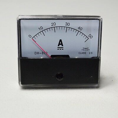 670 Analog Amp Panel Meter Current Ammeter DC 0-50A