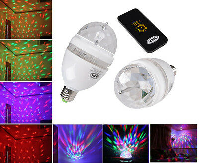 E27 3W LED RGB Sound-activated Rotating DJ Stage Light Bulb with Remote Control