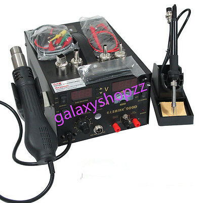 220V SAIKE 909D 3 in 1 rework station with hot air gun,SMD solderi