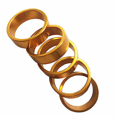 "5p Gold 10mm CNC Aluminum Headset Spacers 1 1/8"" 28.6mm Alloy Washer Super Light"