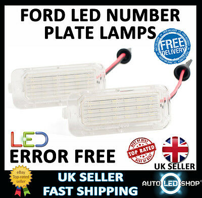 Ford Fiesta 2008> Led Number License Plate Light Lamp Xenon White Bulbs Upgrade