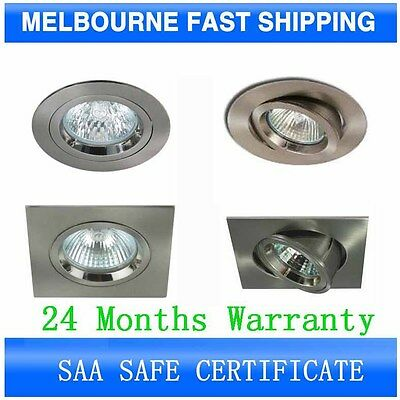 10 X Safe Downlight Fitting Cut out 70mm 90mm Fixed Gimbal White Satin Chrome