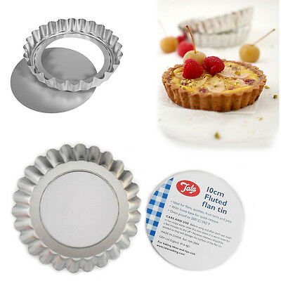 6x 10cm Round Loose Base Tart Tins Pie Flan Baking TALA Quiche Mould Fluted Tray