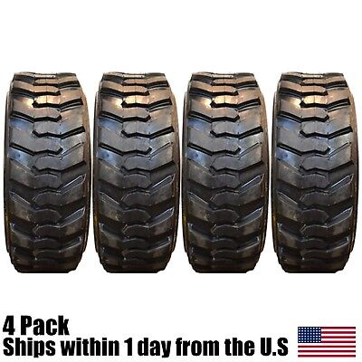 4 10Ply 10x16.5 Skid Steer Tires Fits Bobcat With Rim Guard 10 Ply Tire