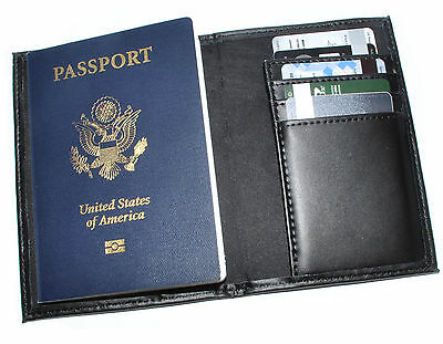 New Black Leather US Passport Cover ID Holder Travel Wallet Organizer Card Case