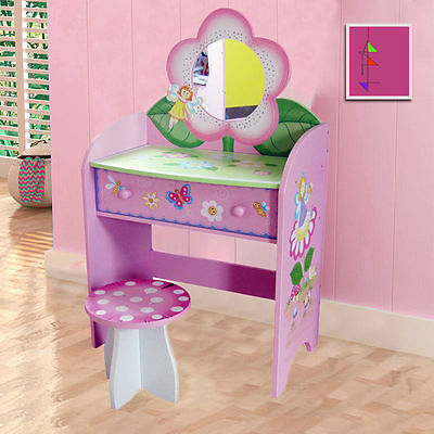 Children Furniture Kids Girls Fairy Butterfly Dressing Table And Stool New 42
