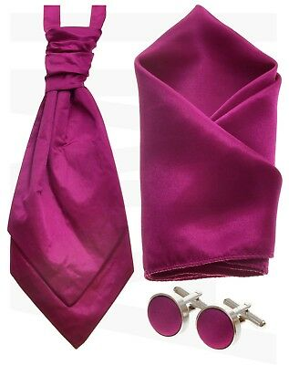 Mens Adults Fuchsia Satin Wedding Ruche Cravat Tie, Cufflinks, Hanky OR Full SET