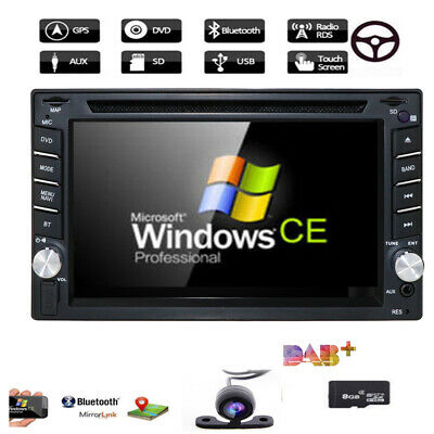 "Double 2 Din 6.2"" HD Car Head Stereo DVD CD GPS Radio Player Bluetooth +Free Cam"