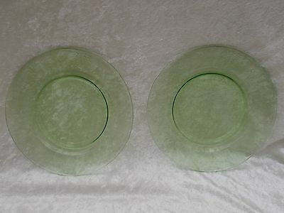 """Pair of Vintage Green Vaseline 8"""" Glass Luncheon Plates"""