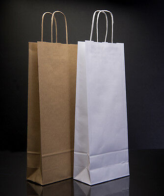 Brown and White Wine Bags Kraft With Twisted Paper Handle