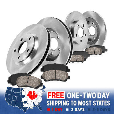 REAR PERFORMANCE DRILLED BRAKE ROTORS AND 8 CERAMIC PADS P0403 FRONT