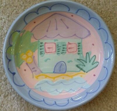 RARE Vintage Ceramic Childs Cereal Bowl Plate Handmade Susan Painter SIGNED Cute