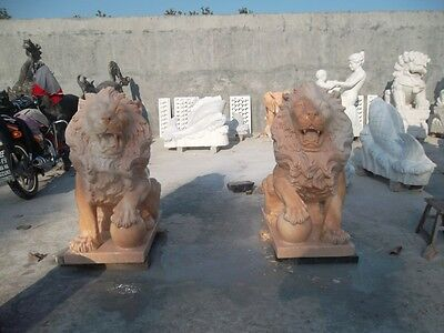 Nice Seated Hand Carved Marble Roaring Lions Ml9