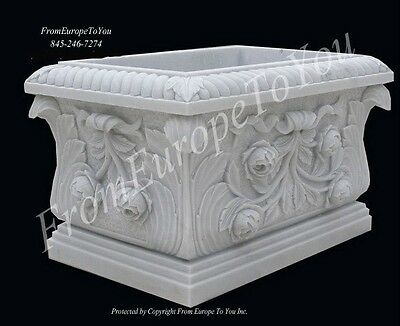 Beautiful Hand Carved Marble Floral Urns Js303