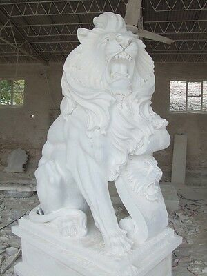 Great Roaring Hand Carved Marble Sitting Lions
