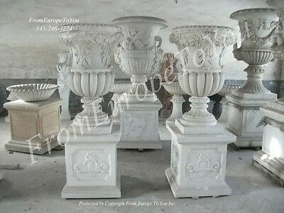 Hand Carved Marble Victorian Style  Castle Urns Urn5