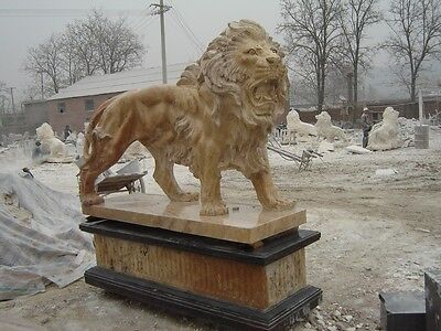 Great Pair Of Standing Estate Hand Carved Marble Lions On Bases Mlb7