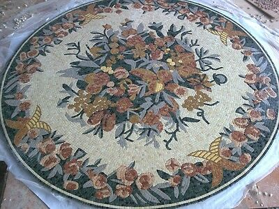 Beautiful Hand Made Micro Mosaic Floral Pool Floor Mm2