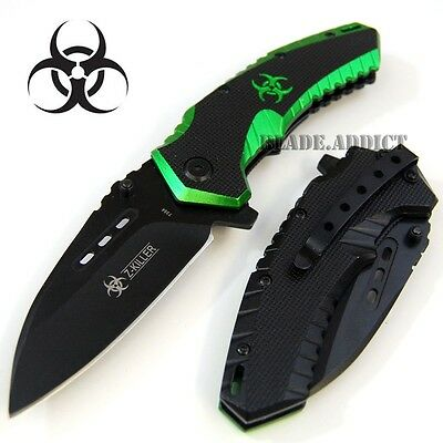 "8"" Zombie Killer BIOHAZARD Tactical Spring Assisted Open Pocket Knife -W"