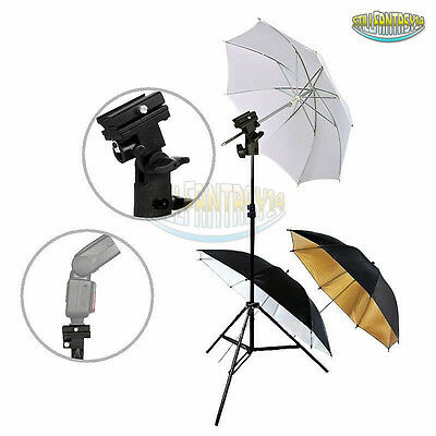 Photography Studio Mount Soft Reflective 3Pcs Flash Umbrellas Light Stand Kit