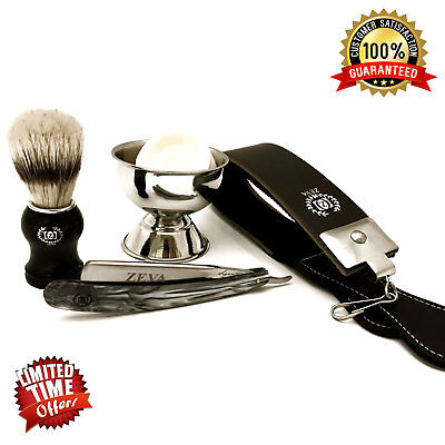 Men's Cut Throat Wet Straight Edge Razor 5 Pc Shaving Set/kit Free Shipping Usa