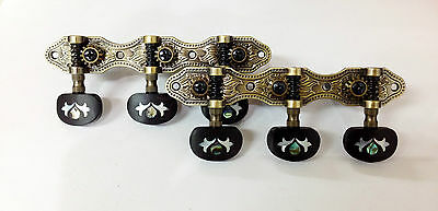 Antique Brass Classical Guitar tuner with inlay Ebony buttons-405AB-E2IN