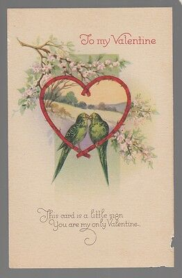 "[53660] Old Postcard ""to My Valentine"" Two Birds Kissing"