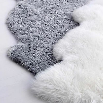 IKEA FAUX Sheepskin Sheep Skin Lambswool Floor Rug Baby Nursery Decor White/Grey