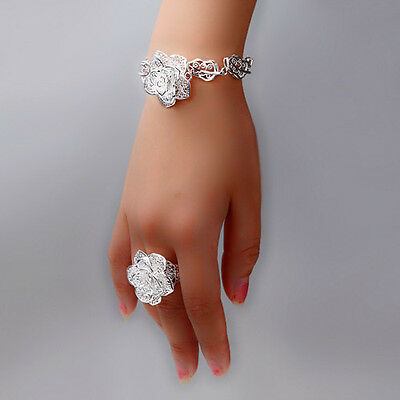 Special Price Solid 925Sterling Silver Jewelry Bloomy Rose Rings&Bracelet Bangle