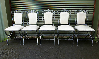Set of 5 x Metal Wrought Iron Dining Chairs with Cream Padded Seats ts
