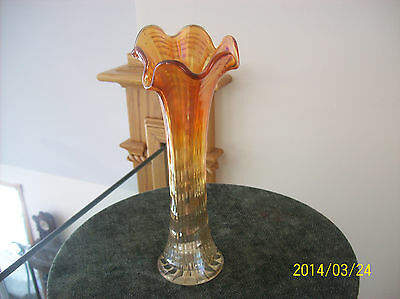 IMPERIAL MARIGOLD CARNIVAL GLASS VASE RIPPLED DESIGN WITH A RUFFLED EDGE