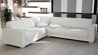 Couch Garnitur Ecksofa Sofagarnitur Sofa SORRENTO white Wohnlandschaft