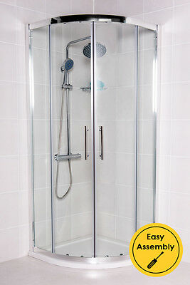 800x800 Quadrant Shower Enclosure Walk In Corner Cubicle Glass Door+Tray+Waste