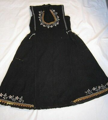 Antique Hand Woven Embroidered Beadwork Folk Costume Overdress Tunic Dress